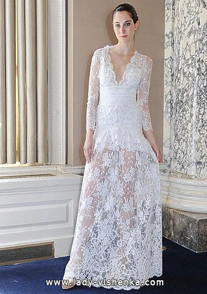 bröllopsklänning spets kort ärm